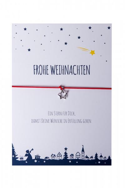 Armband Stern - Frohe Weihnachten - & rot