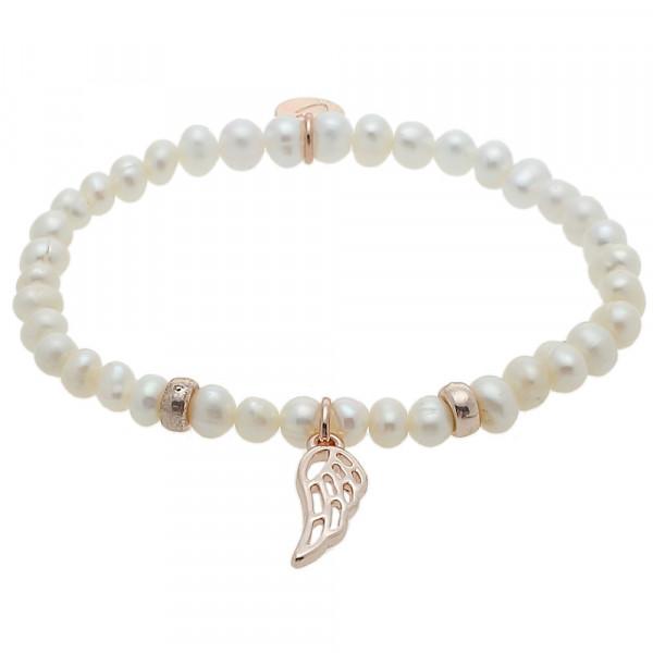 Armband - Süßwasser Perle & Flügel