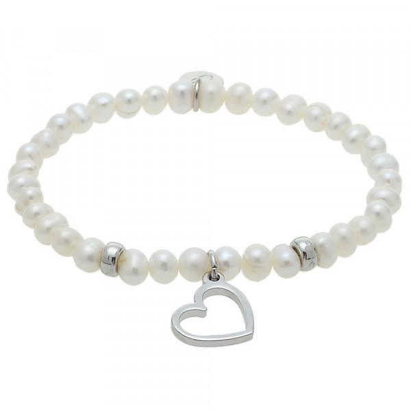 Armband - Süßwasser Perle & Herz