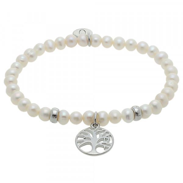Armband - Süßwasser Perle & Lebensbaum