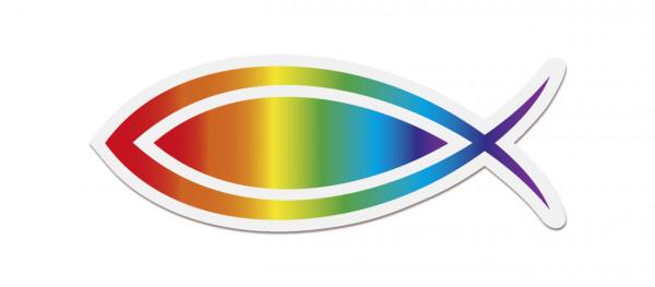 Aufkleber - Fisch & Regenbogen