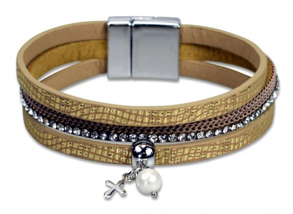 Beigefarbenes Armband - Kleines Kreuz, Perlen & Strasssteine
