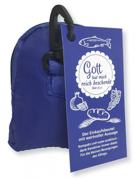 Blaue Einkaufstasche - Gott hat mich reich beschenkt