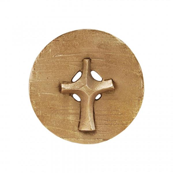 Bronze-Plakette - Kreuz in Scheibe
