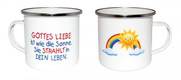 Emaille-Becher - Regenbogen & Sonne