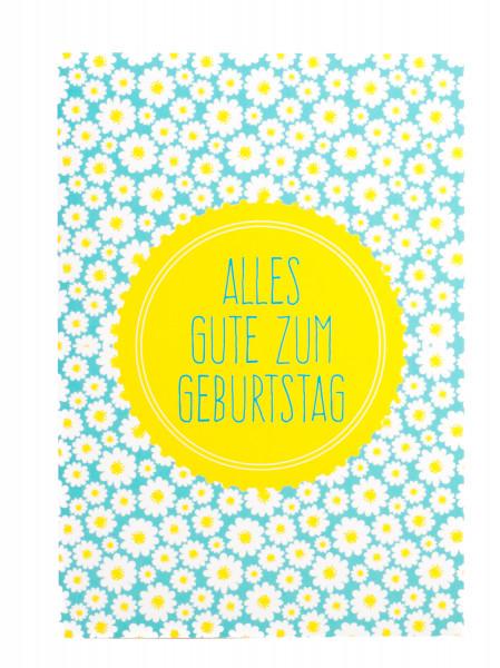Geburtstagskarte - Blumenmuster & Gelber Kreis