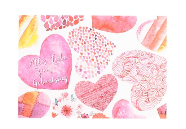 Geburtstagskarte - Herzen