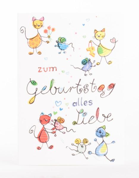 Geburtstagskarte - Katzen und Mäuse
