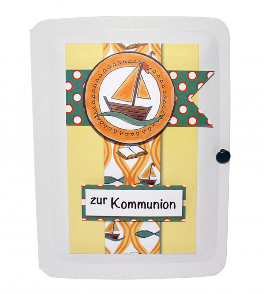 Geschenk-Box zur Kommunion - Segelschiff & Kreuz