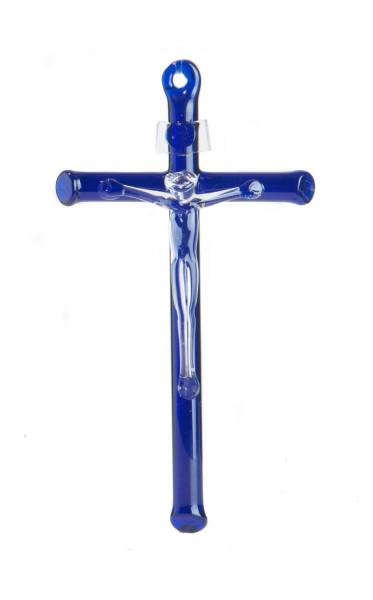 Glaskreuz - Blauer Balken mit mundgeblasenem Korpus