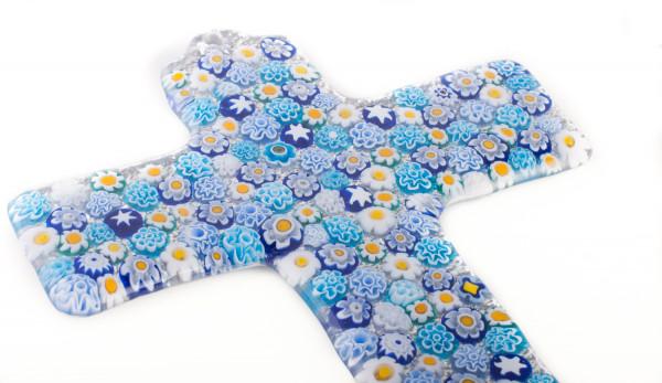 Glaskreuz Blumen & Blautöne