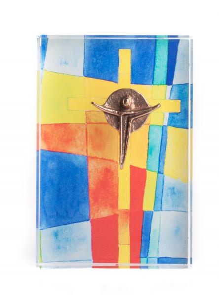 Glasquader - Kreuz mit Bronzekorpus