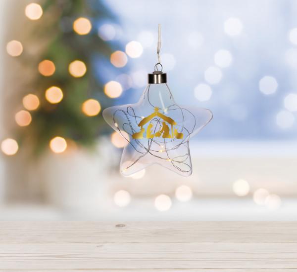 Glasstern - Krippe & Lichterkette
