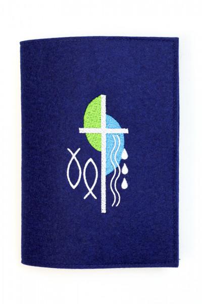 Gotteslobhülle - Blauer Woll-Filz Blau mit Kreuz