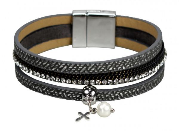 Graues Armband - Kleines Kreuz, Perlen & Strasssteine