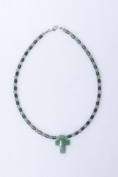 Halskette - Aventurin Perle & Kreuz