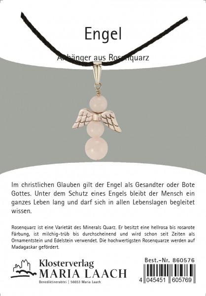 Halskette - Engelanhänger & Rosenquarz