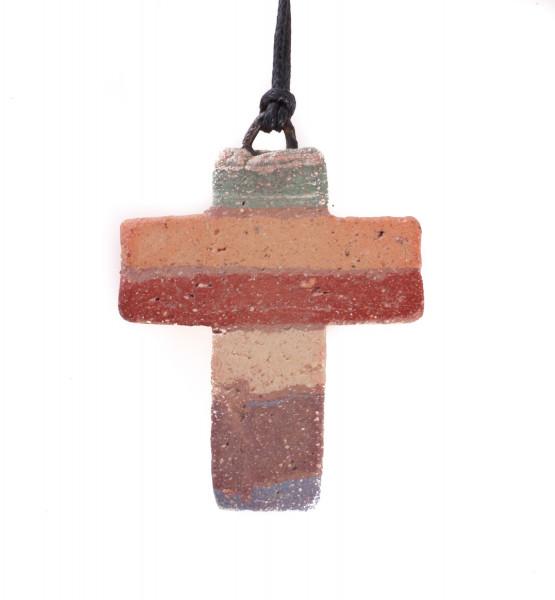 Halskette - Gestreiftes Ton-Kreuz