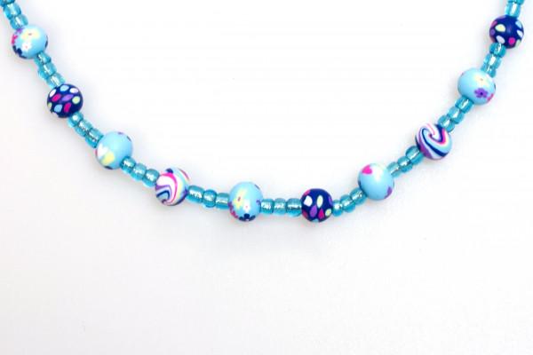 Halskette - Marmorierte Perle