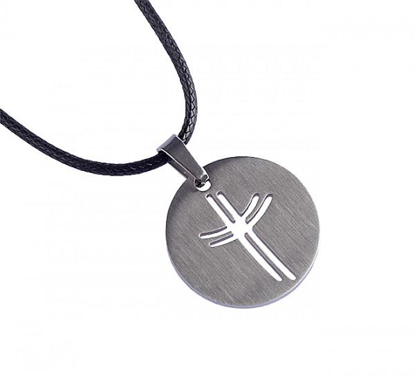 Halskette - Runder Anhänger mit Kreuz