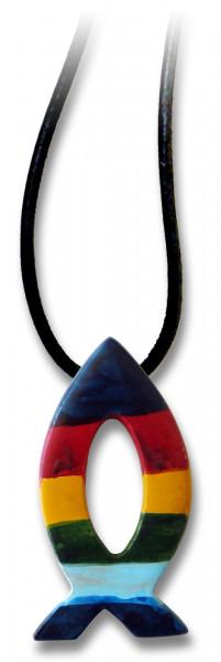 Halskette - Speckstein und Regenbogenfisch