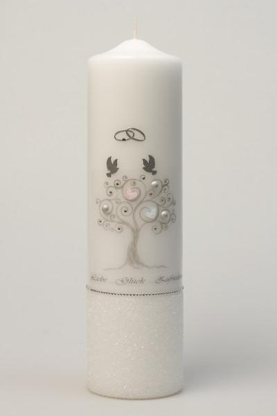 Hochzeitskerze - Lebensbaum & Silberfarben