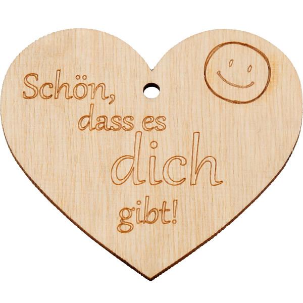 Holz Anhänger - Herz & Schön, dass es dich gibt!