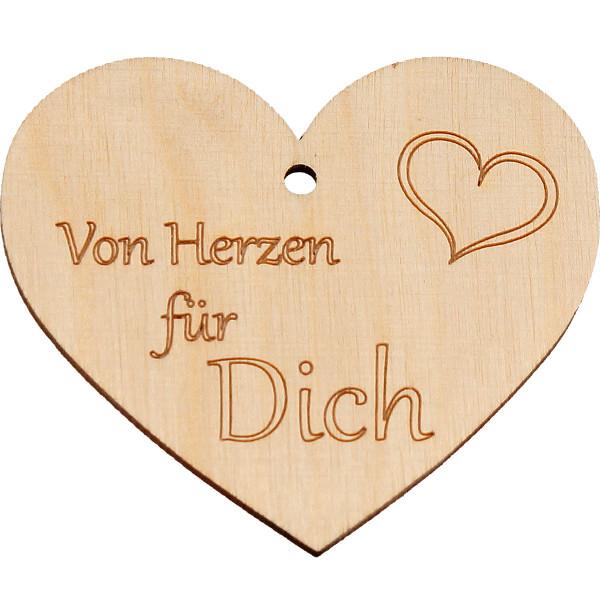 Holz Anhänger - Herz & Von Herzen für Dich
