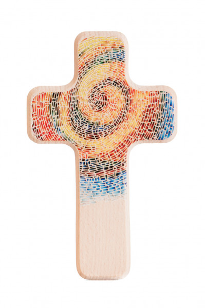 Holzkreuz - Farbige Spirale