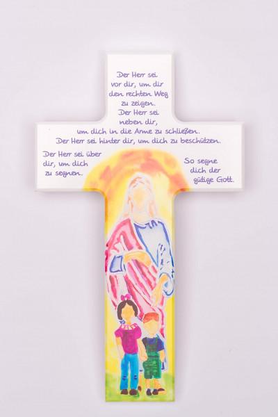 Holzkreuz & Jesus und Kinder