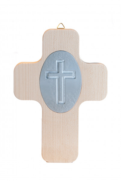 Holzkreuz - Silberfarbenes Kreuz