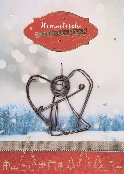 Himmlische Weihnachtsgrüße.Karte Zu Weihnachten Himmlische Weihnachten Feindraht Engelanhänger Artikel Nr 100929069