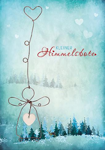 Karte zu Weihnachten - Kleiner Himmelsbote mit Herz