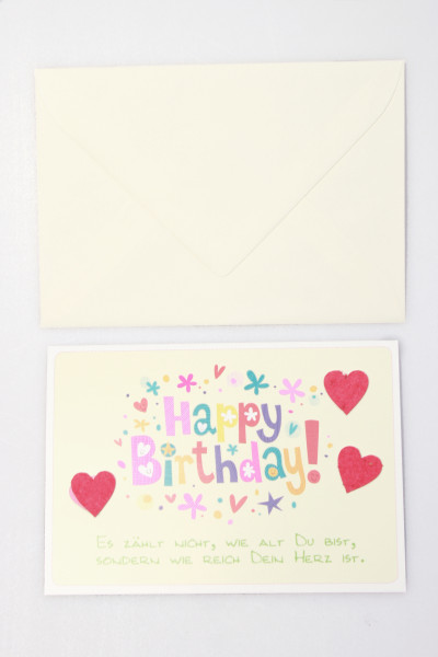 Karte zum Geburtstag - Es zählt nur, wie reich dein Herz ist...