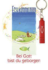 Karte zur Erstkommunion - Bei Gott bist du geborgen & Rote Taschenlampe