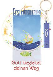 Karte zur Erstkommunion - Gott begleitet deinen Weg & Blaue Taschenlampe
