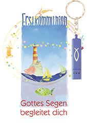 Karte zur Erstkommunion - Gottes Segen begleitet dich & Blaue Taschenlampe