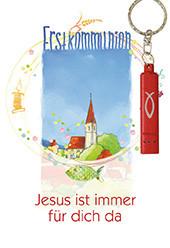 Karte zur Erstkommunion - Jesus ist immer für dich da & Rote Taschenlampe