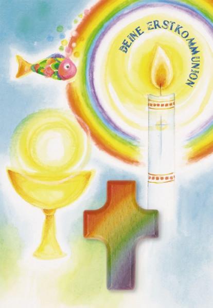 Karte zur Erstkommunion - Kerze und Handschmeichler-Kreuz