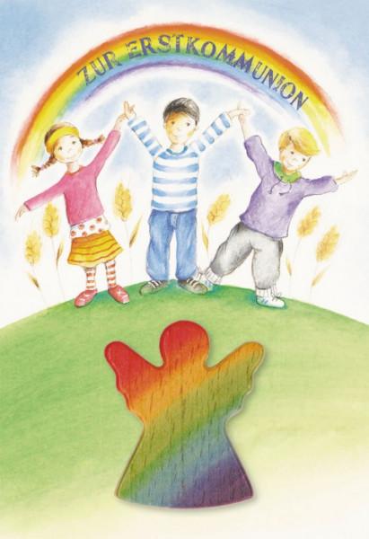Karte zur Erstkommunion - Kinder und Holzhandschmeichler Engel