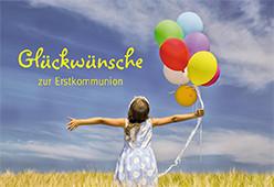 Karte zur Erstkommunion - Luftballons am Himmel
