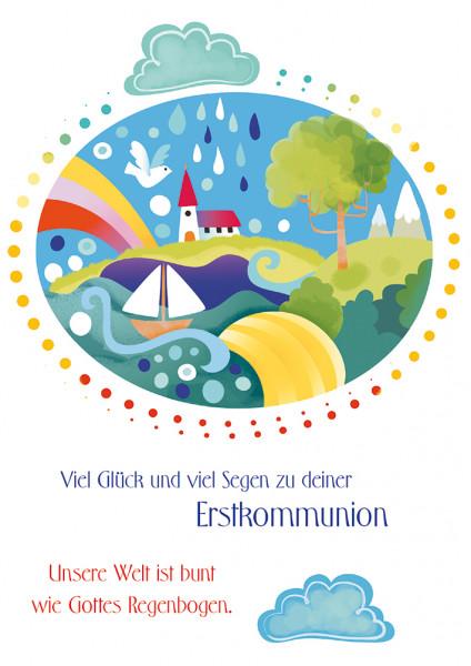 Karte zur Erstkommunion - Unsere Welt ist bunt...