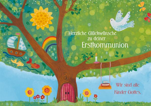 Karte zur Erstkommunion - Wir sind alle Kinder Gottes