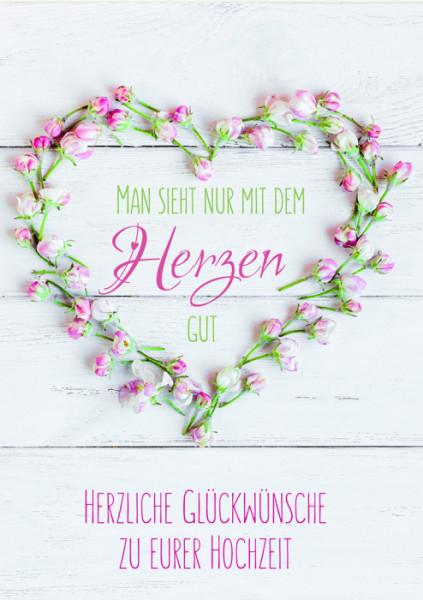 Karte zur Hochzeit - Herz aus Blumen