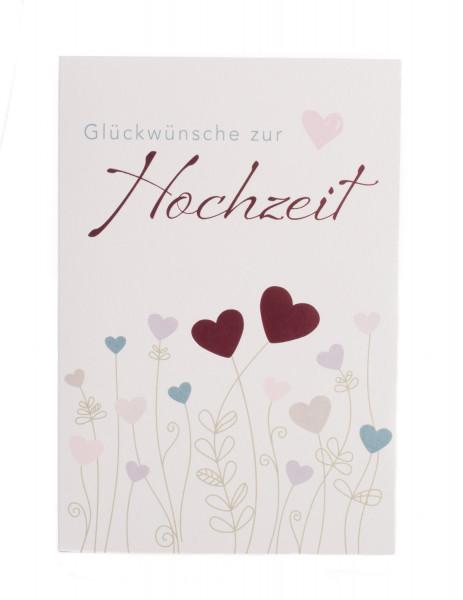 Karte zur Hochzeit - Herzblumen