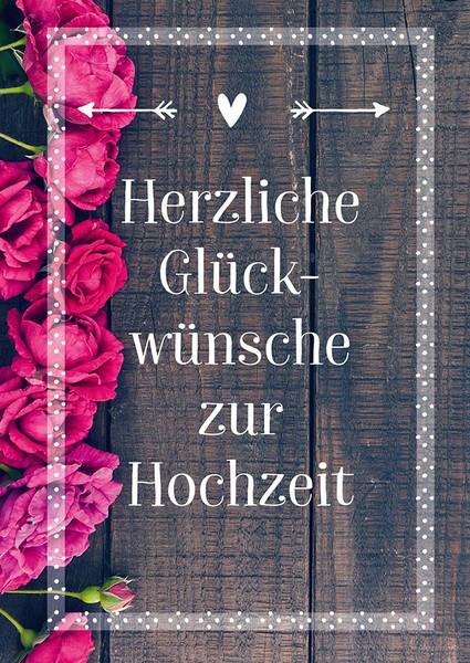 Karte zur Hochzeit - Rosen