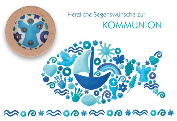 Karte zur Kommunion - Blauer Fisch & Geduldspiel