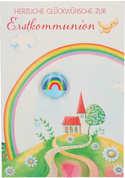 Karte zur Kommunion - Bunter Regenbogen und Glasmagnet