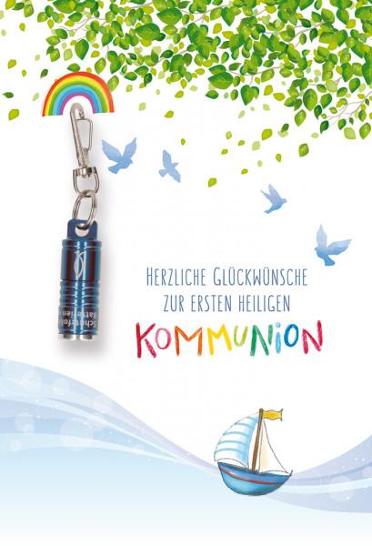 Karte zur Kommunion - Geborgen & Blaue Taschenlampe