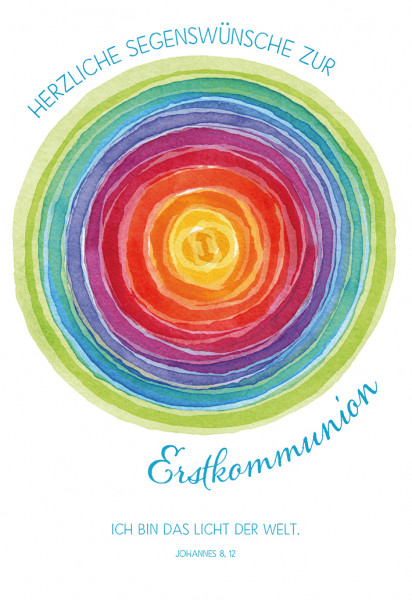 Karte zur Kommunion - Ich bin das Licht der Welt